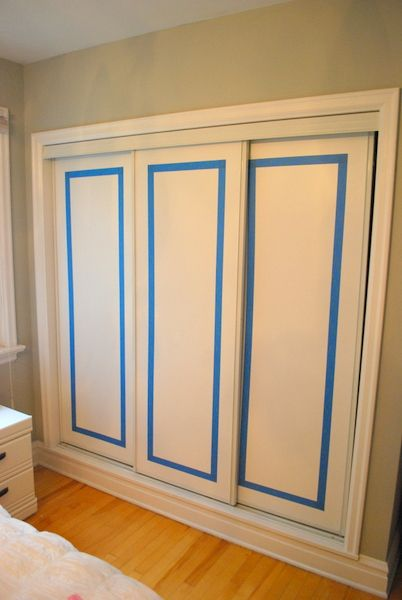 Painted Sliding Closet Doors Faux Trim Effect Pinterest Sliding