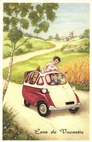 Isetta Heinkel BMW Car Couple Artist Postcard Ca 1950s
