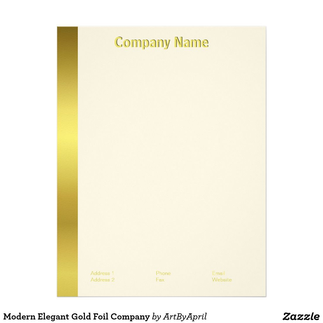 Modern Elegant Gold Foil Company Letterhead  Company Letterhead