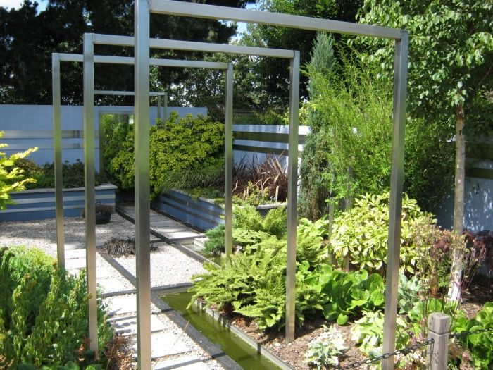 Steel Pergola Rill Water Feature Raised Beds Edible