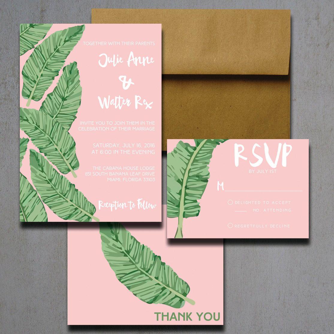 pink banana leaf wedding invitations - palm tree wedding, Wedding invitations