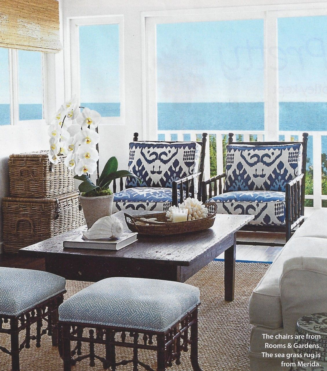 Outdoor Room in Quadrille Kazak Blue Suncloth on Chairs, Stools in Quadrille Java Java in New Blue on White (Coastal Living June 2013)