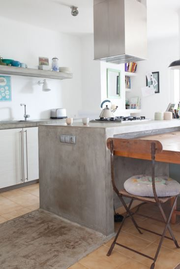 Integral Concrete Horizontal To Vertical In Wood Floor Kitchen