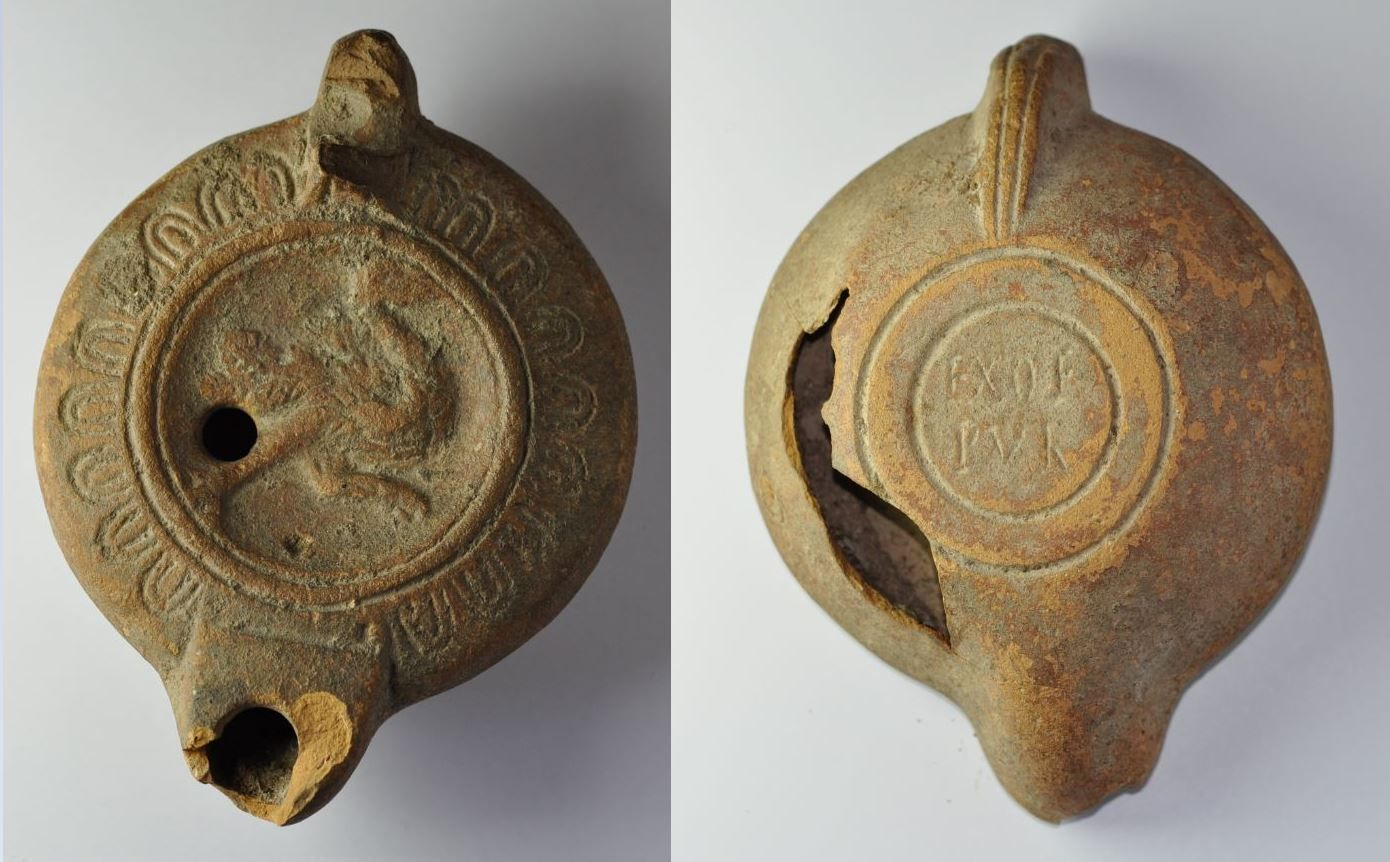 Roman oil lamp with ostrich running, 2nd-3rd century A.D. Roman oil lamp with ostrich running, North Africa colonies, ostrich in full gallop, maker's name EX OF PUR, 10.3 cm long. Private collection