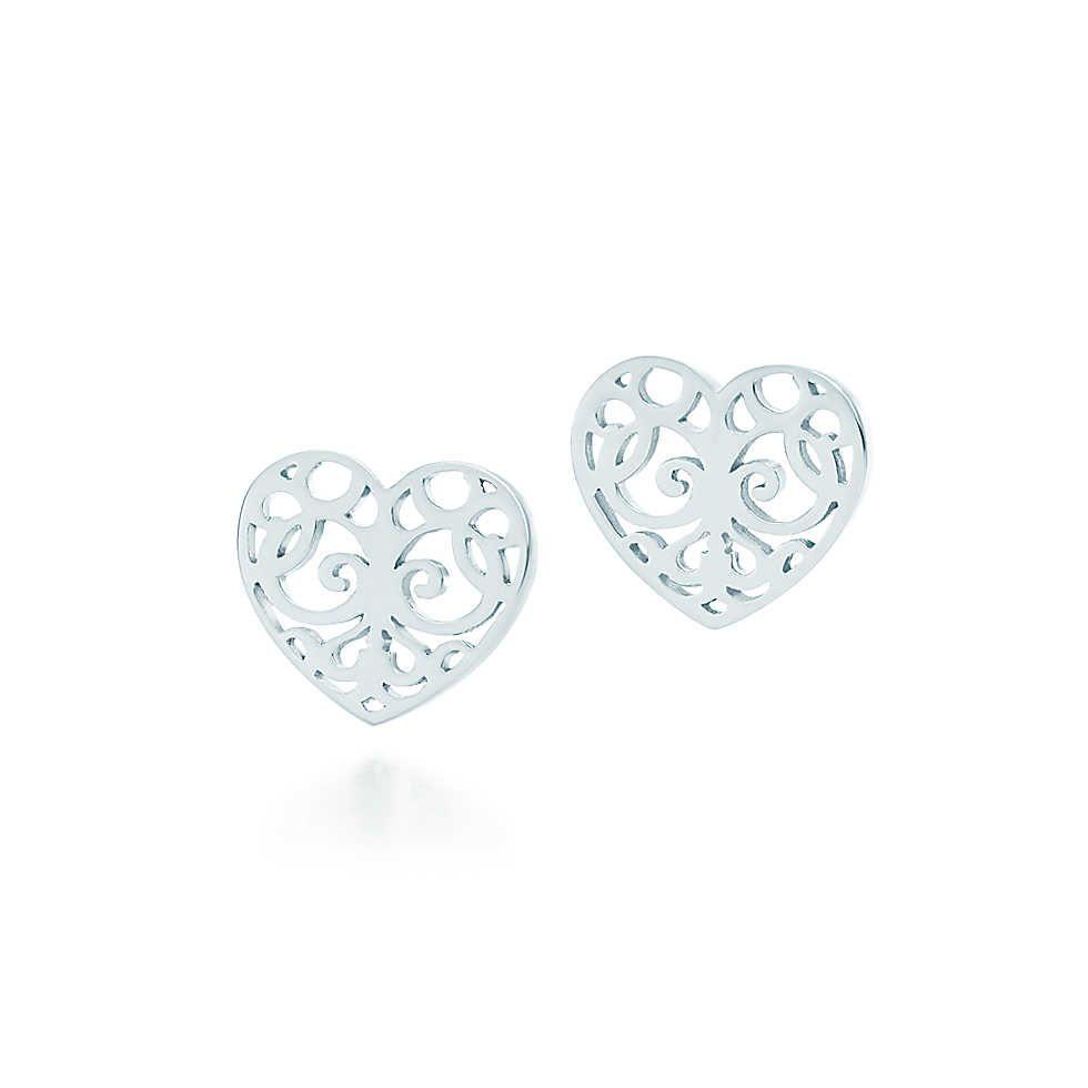 Tiffany Enchant Heart Earrings In Sterling Silver Co