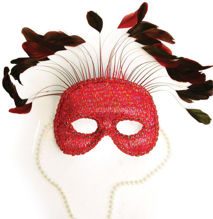 Red Satin Mask with Feather and Beads