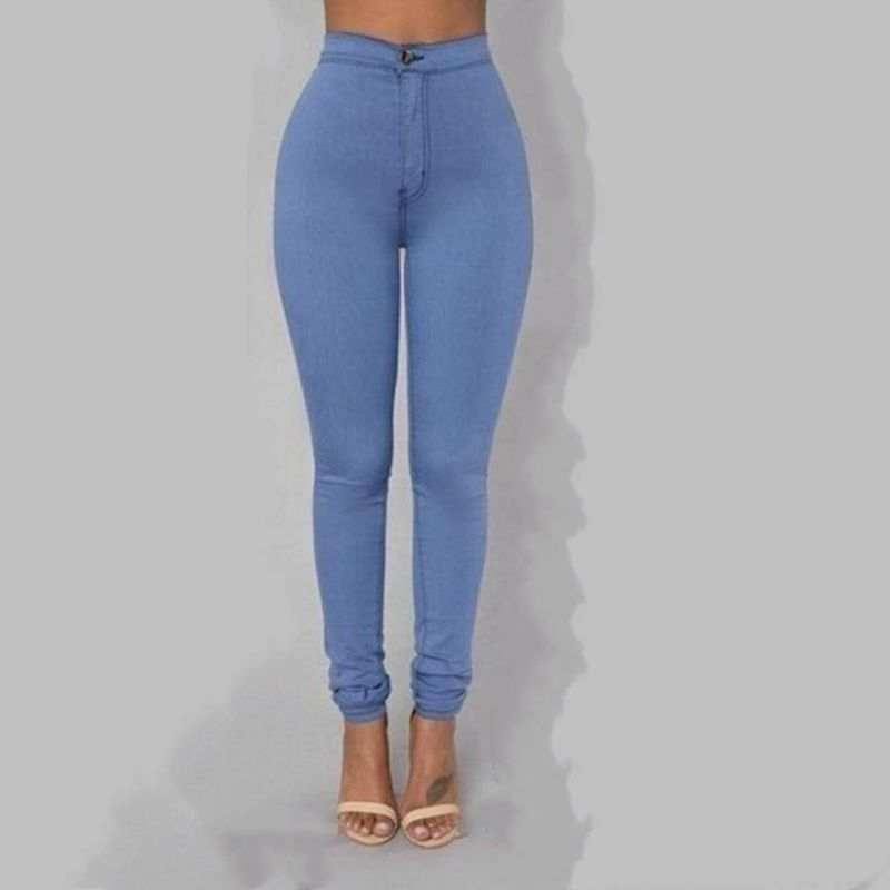 ace2f343b83 Solid wash skinny jeans 2018 woman high waist winter denim pants plus size  push up trousers