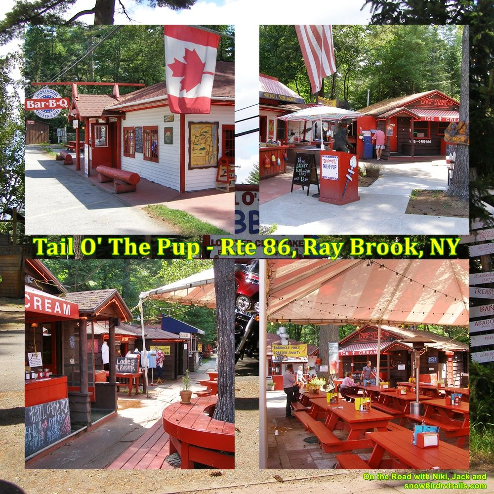 The Tail O' The Pup is located on Rte 86 between Lake Placid and Saranac Lake, NY amongst the High Peaks of the Adirondack Mountains.  On the Road with Niki, Jack and snowbirdrvtrails.com.