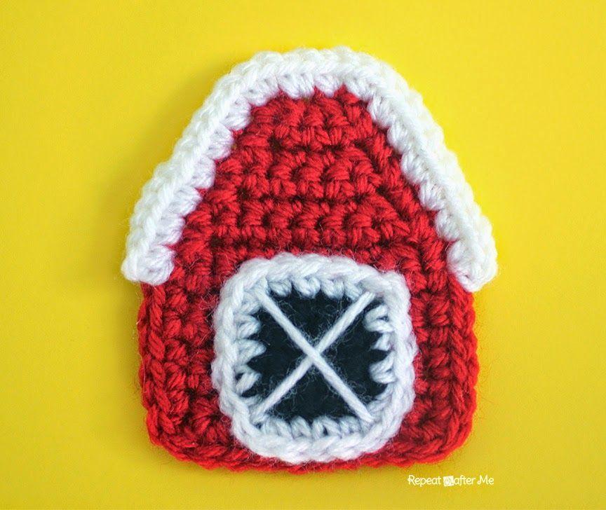Crochet Barn Applique Tutorial ☆•★Teresa Restegui http://www.pinterest.com/teretegui/★•☆