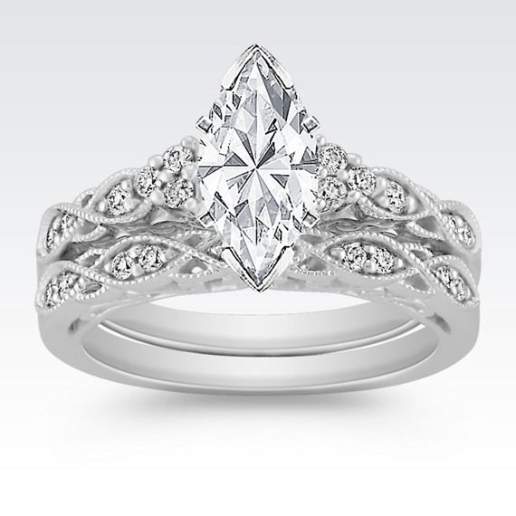 Vintage Diamond Wedding Set With Pavé Setting At Shane Co
