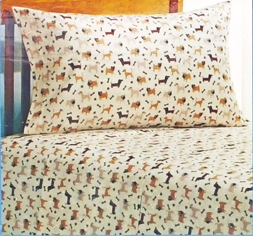 Twin Flannel Dog Lover Sheet Set Pug Dachshund Bulldog Terrier