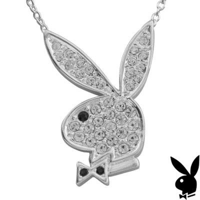 Playboy necklace swarovski crystal bunny pendant playmate of the playboy necklace swarovski crystal bunny pendant playmate of the month collection pave diamante bling official genuine aloadofball Image collections