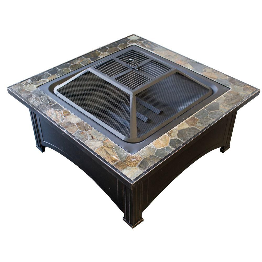 Az Patio Heaters 36 In Slate Wood Burning Fire Pit In Black Ft 51133d The Home Depot In 2020 Wood Burning Fire Pit Round Fire Pit Table Square Fire Pit