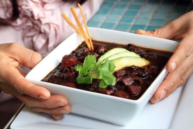 MextoGo Signature Black Bean soup made with chorizo.