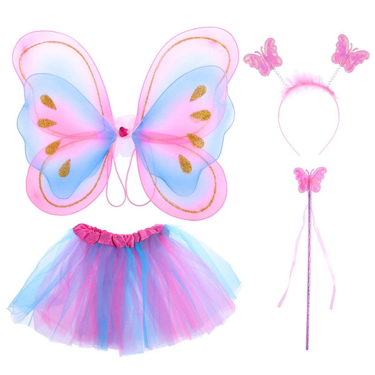 Girls Butterfly Fairy Wings Wand Headband Tutu Skirt Party Fancy Dress