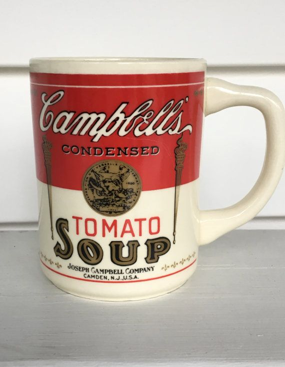 2803340ba51 vintage Campbell's Tomato Soup mug, coffee mug, red white, promo mug ...