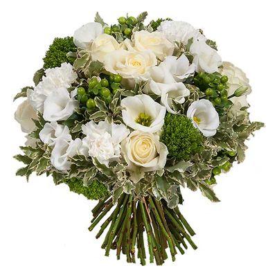 Bouquet de fleurs blanc et vert sur fleurs for Aquarelle livraison fleurs