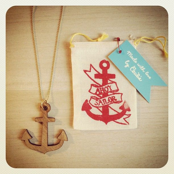 """""""Ahoy Sailor"""" necklace. Lasercut in scandinavian birch veneer and stained with a walnut varnish."""