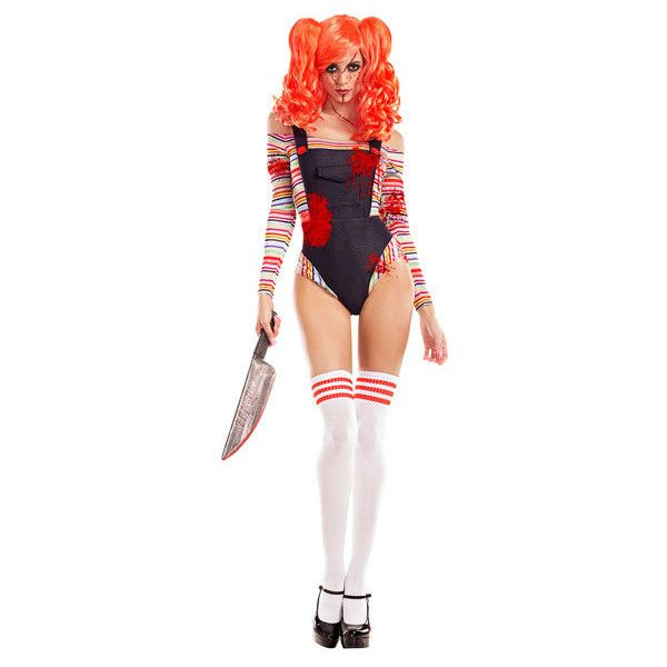 Killer Doll Costume (55 AUD) ❤ liked on Polyvore featuring costumes, doll halloween costume, white halloween costumes, baby doll costume, babydoll costume and white costumes