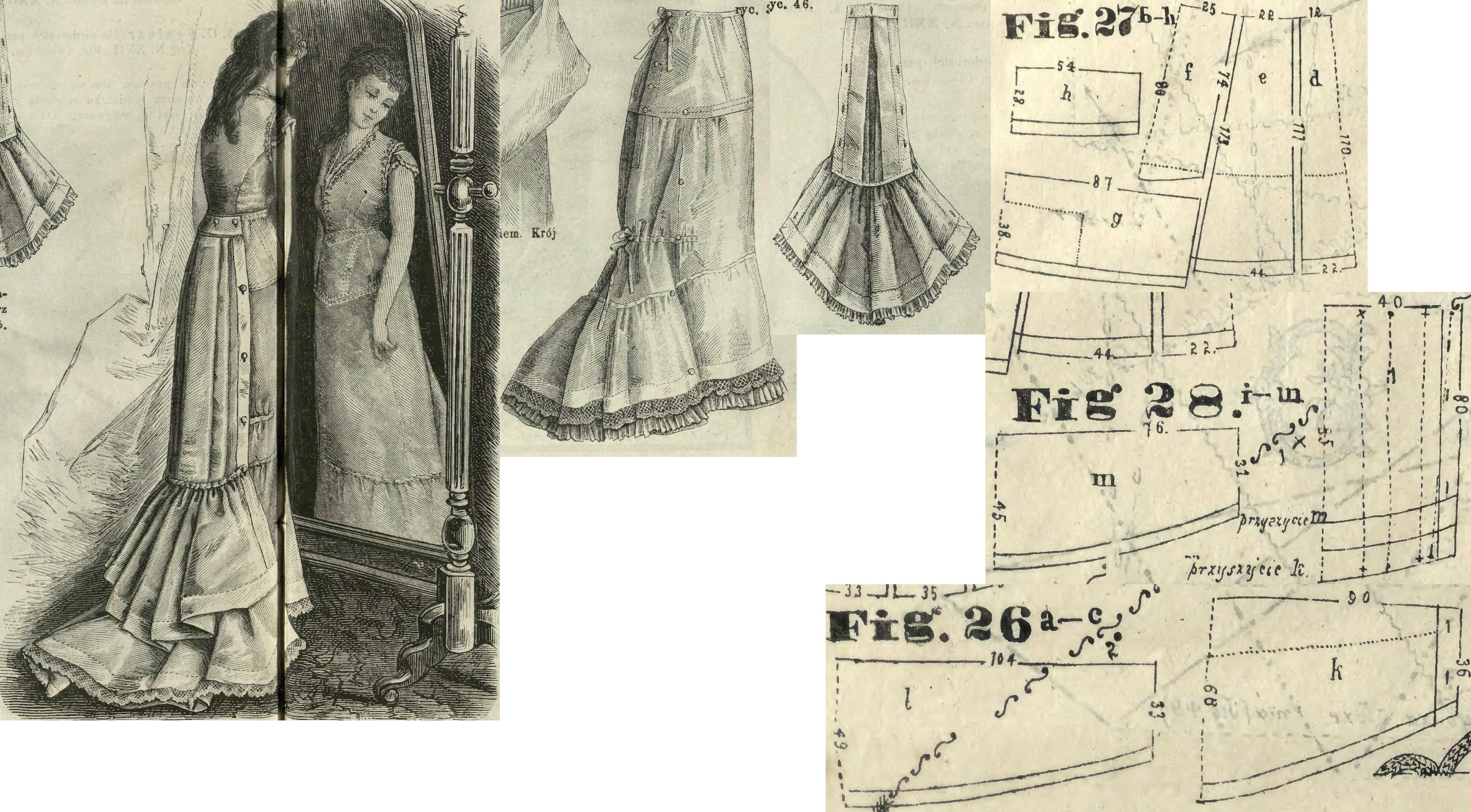 Tygodnik Mód 1877.: Demi-train petticoat with detachable bustle; Fig. 27. pattern of the petticoat (d front part in half, e side gore, f short back gore in half, g supplementing back ruffle in half, h second row of ruffle in half, dotted lines mark where to set it on g), 28. detachable bustle's pattern (i bustle in half, k bottom ruffle in half, m top ruffle in half), 26. ruffle in half of the petticoat (set it at the dotted lines on d-f)