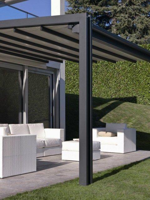 P rgola de hierro con toldo roof garden ideas - Pergolas con toldo ...