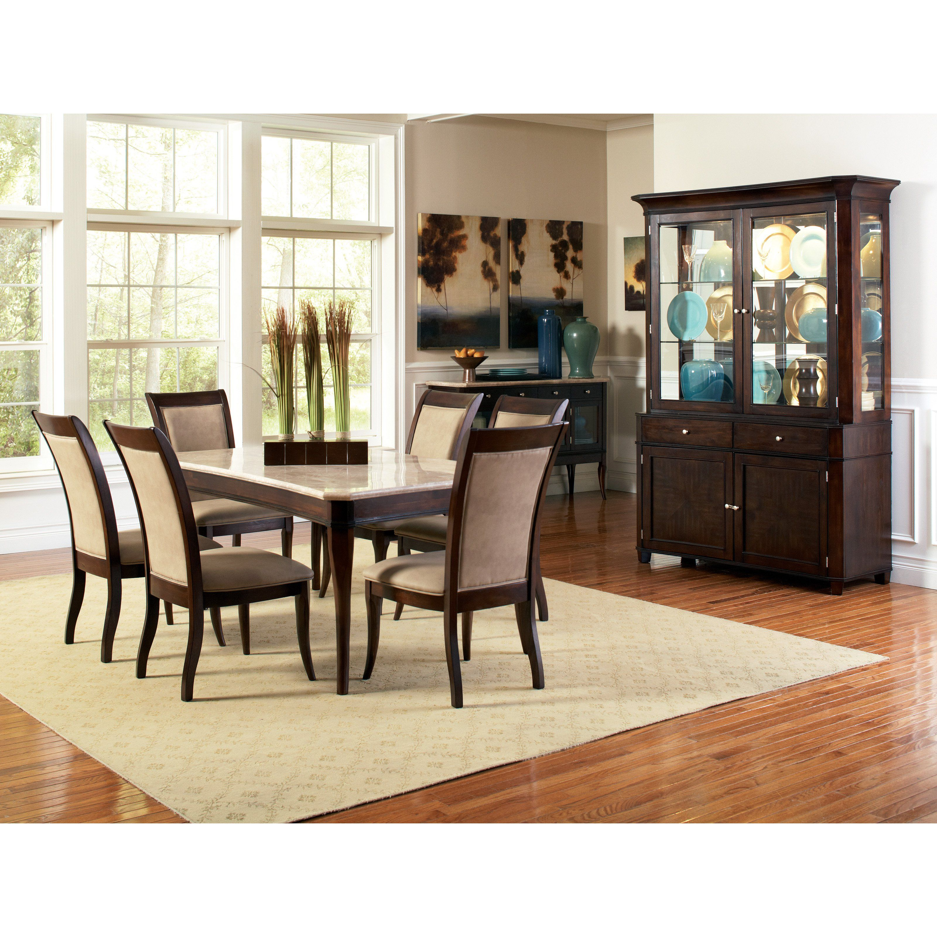 Steve Silver 7 Piece Marseille Marble Top Dining Table Set   Dark Cherry    $1452 @hayneedle