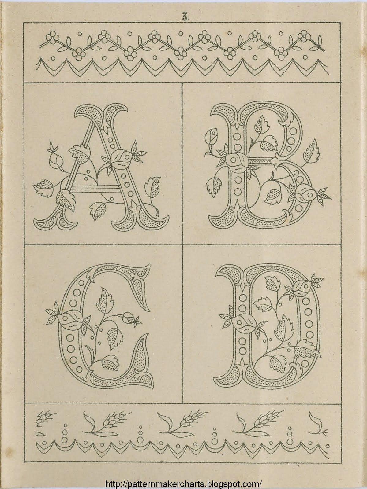 Cruces de hilo y rosas : Letras para bordar | dibujos para costura ...