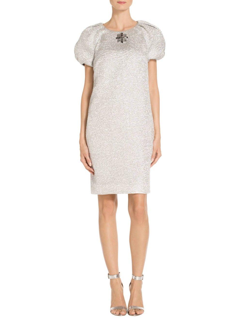 St. John Silver Metallic Cloqué Raglan Pleated Sleeve Dress ...
