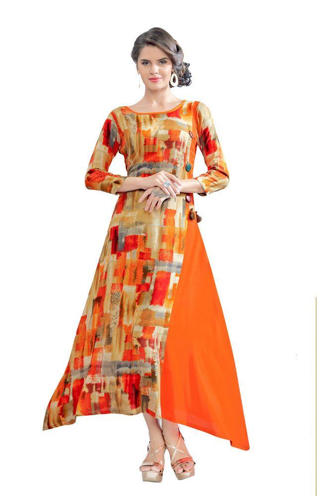 884acd23657 New India Kurta Kurti Design Women Ethnic Dress Top Tunic Bollywood Tops  Orange #RadhaKrishnaExports #TunicKurti #PartyWearFestivalWear