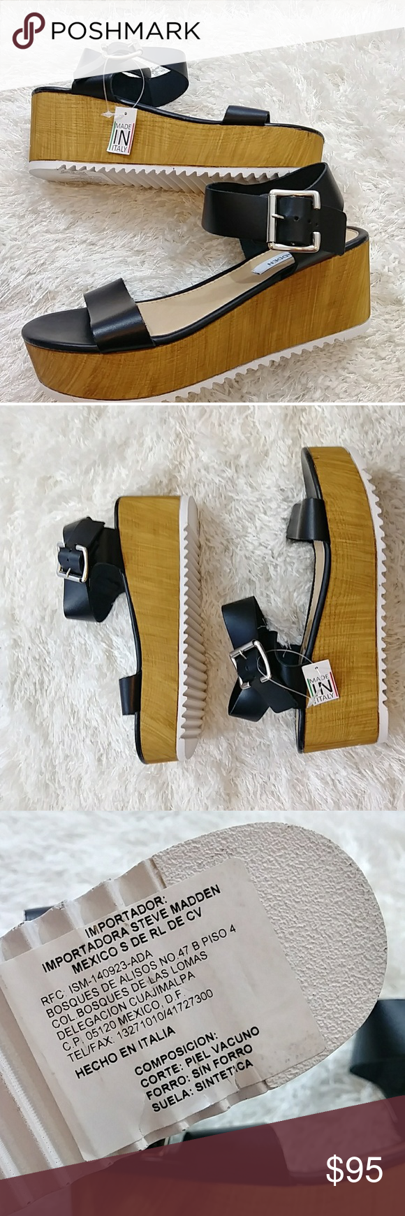 91f2084d2a7 Steve Madden Size 8 Nylee Wedge sandal Steve Madden Women Size 8 Black Wood Wedge  NYLEE Platform Sandal Italian Made. Brand new. No box. Tags attached.