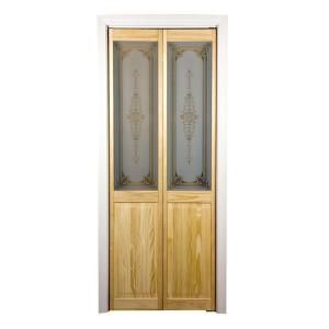 Pantry Door Pinecroft 703 Series 36 In X 80 1 2 In Unfinished Glass Over Panel Parisienne Universal Reversible B Bifold Doors Glass Decor Bifold Closet Doors