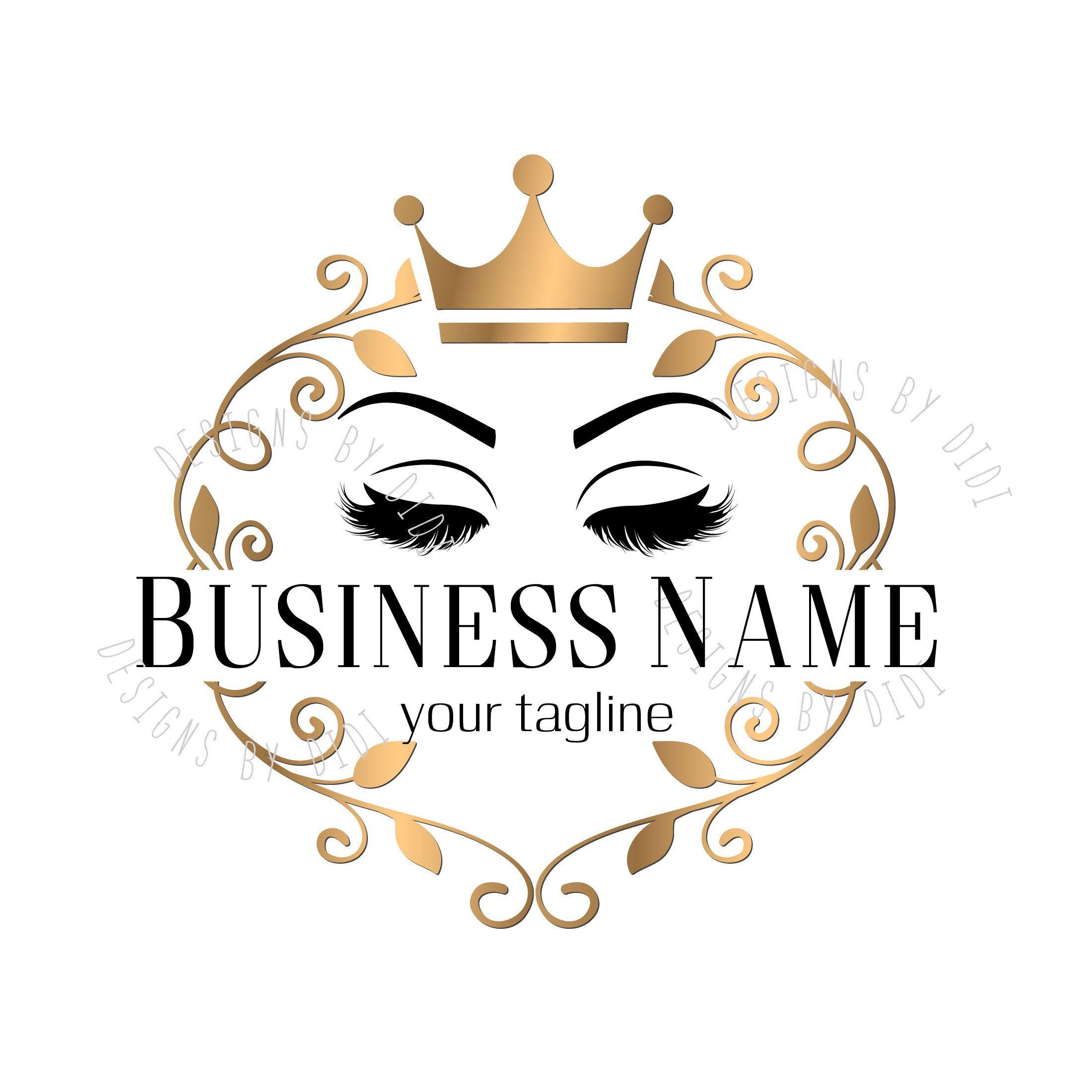 Custom logo lash, gold lashes crown logo, eyelash gold