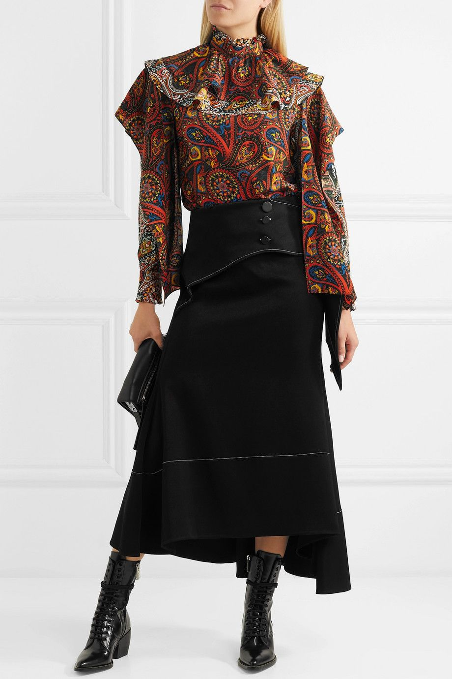 Net AndersonLayered Silk Jw Porter Printed Georgette A Blouse strhdCQBx