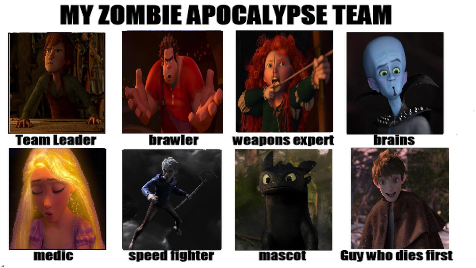 I M Not Much For Zombies But This Is Hilarious Xd And Jack Had Better Come Back With Some Frost Disney Memes Zombie Apocalypse Team Disney And Dreamworks