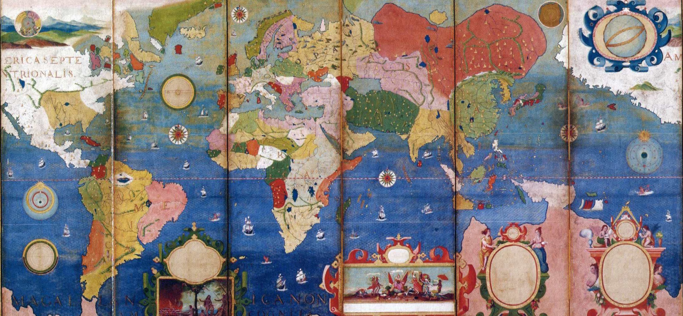 World map 17th century japanese folding screen map japan mape world map 17th century japanese folding screen map japan gumiabroncs Gallery