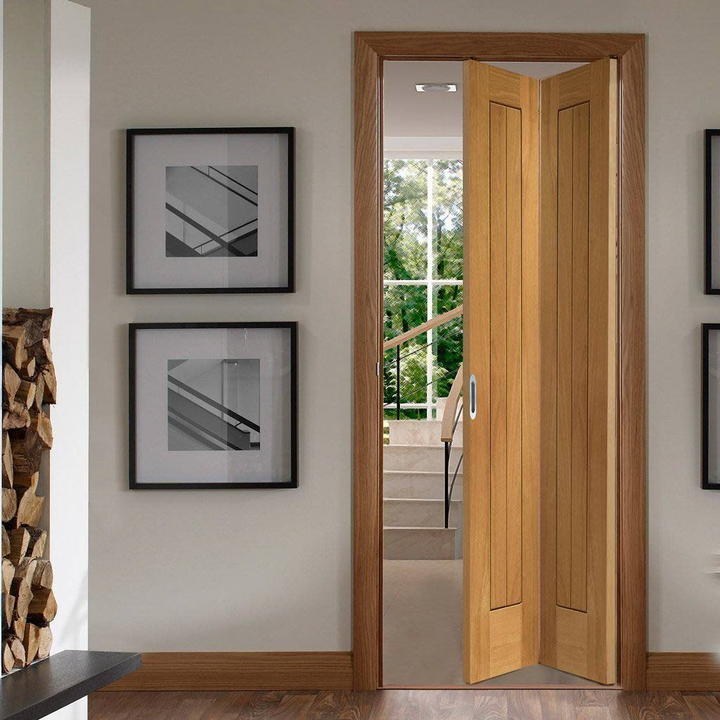 Suffolk Oak Bifold Door Vertical Lining Oak Bifold Doors Folding Doors Oak Doors With Glass