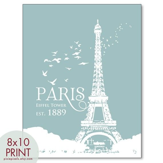 Eiffel Tower Paris Travel Posters 8x10 PRINT by pixiepixels, $12.95