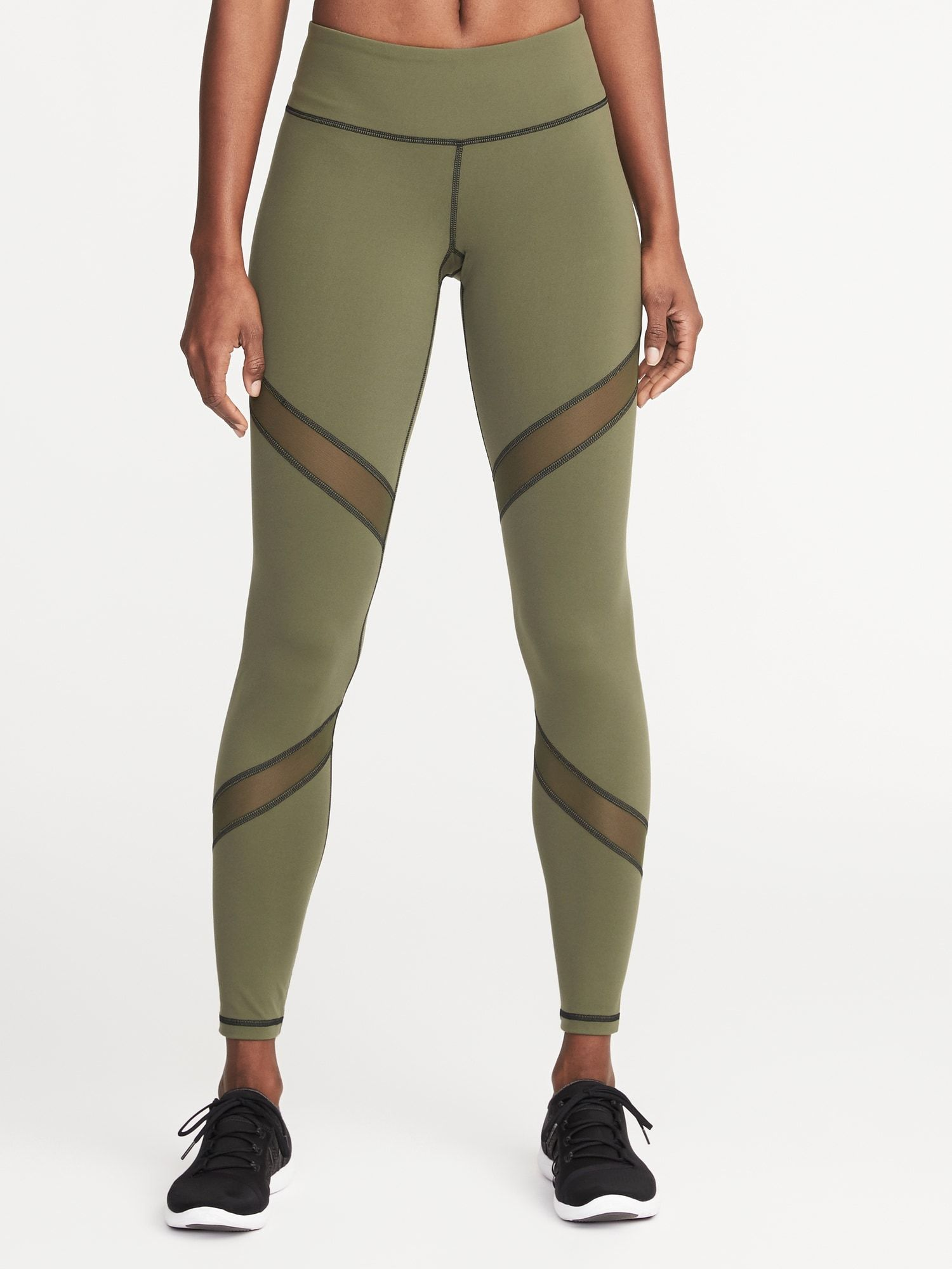 a6147ac3f7f Mid-Rise Mesh-Panel Elevate Compression Leggings for Women