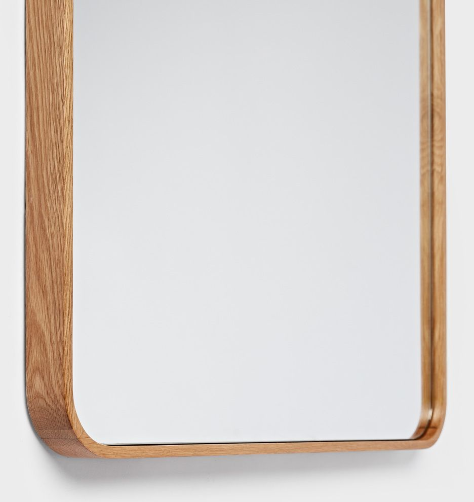 24 X 36 Solid White Oak Rounded Rectangle Mirror Rounded Rectangle Mirror White Oak