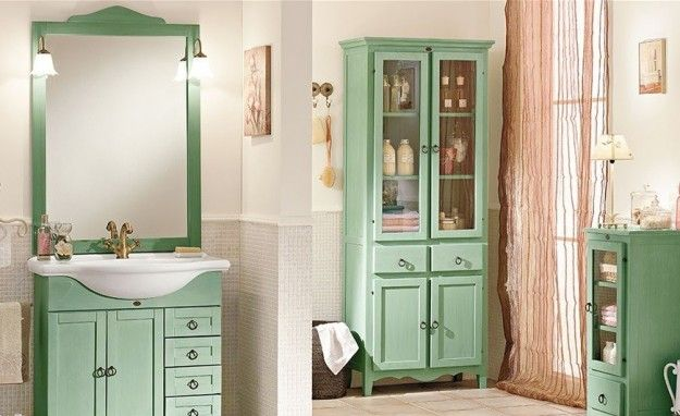 idee per arredare un bagno in stile classico - mobile lavabo verde