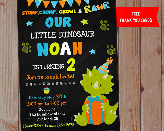 Dinosaur Birthday Invitation First Outfit Cute Party