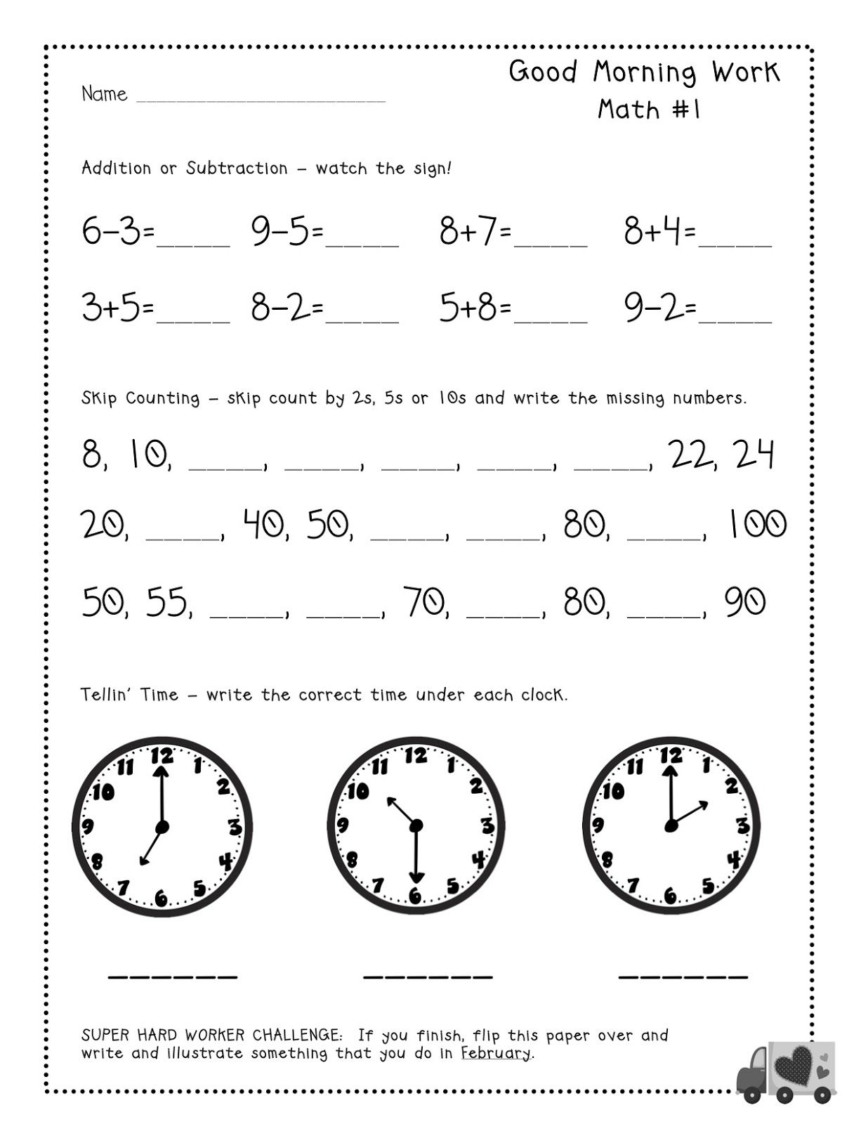 Free tester Good Morning Work pages for firsties Common core – Morning Math Worksheets