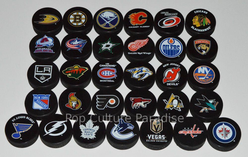 Hockey Pucks All 31 Nhl Teams Complete Set Basic Logo Puck Lot W Las Vegas Hockey Puck Pucks Hockey