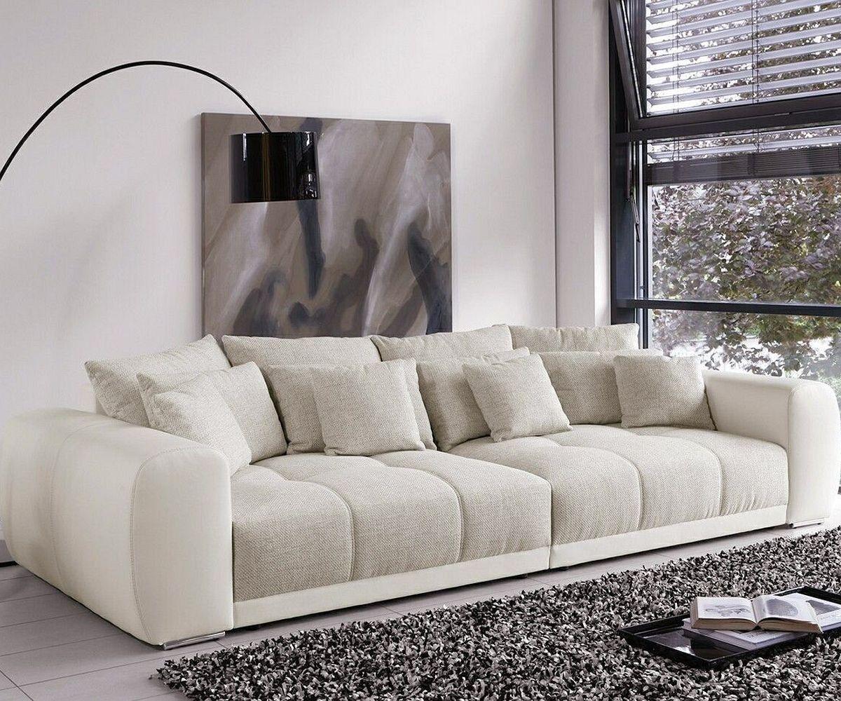 DELIFE Big Sofa Valeska 310x135 cm Grau Beige mit 12 Kissen, Big ...