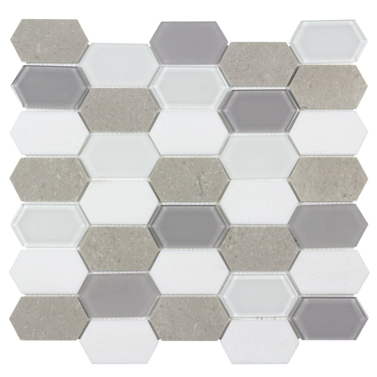 Mto0127 Hexagon White Cinderella Gray Glossy Thassos Marble Glass