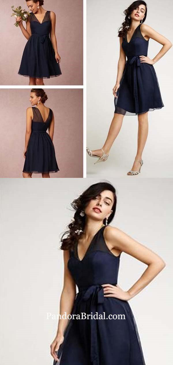 Charming Navy Blue V-Neck Short Bridesmaid Dresses With Bow-Knot, Bridesmaid Dresses, PD0448 #navyblueshortdress