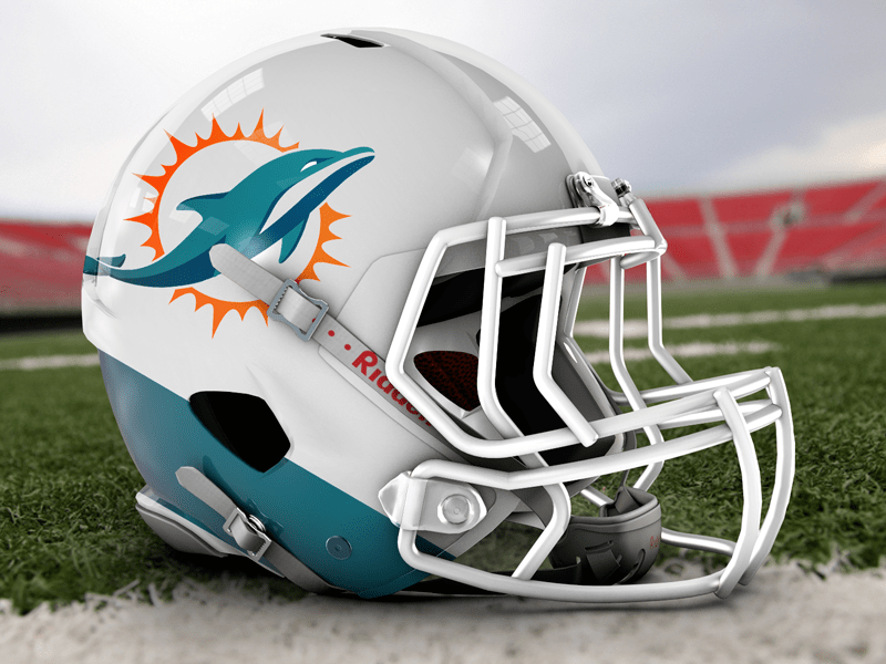 A Photorealistic Helmet Mockup With The Logo Template Of Miami Dolphins Club Designed By Tito Goldstein Free Download And Football Helmets Football Dolphins