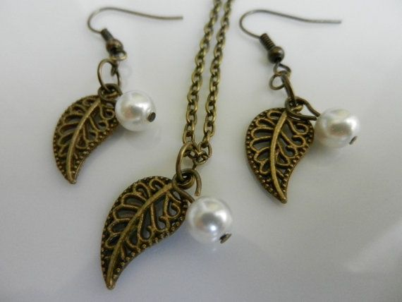 Earring Gift Set. Pearl Pendant. Antique Bronze by Sewstacycharms, $22.75