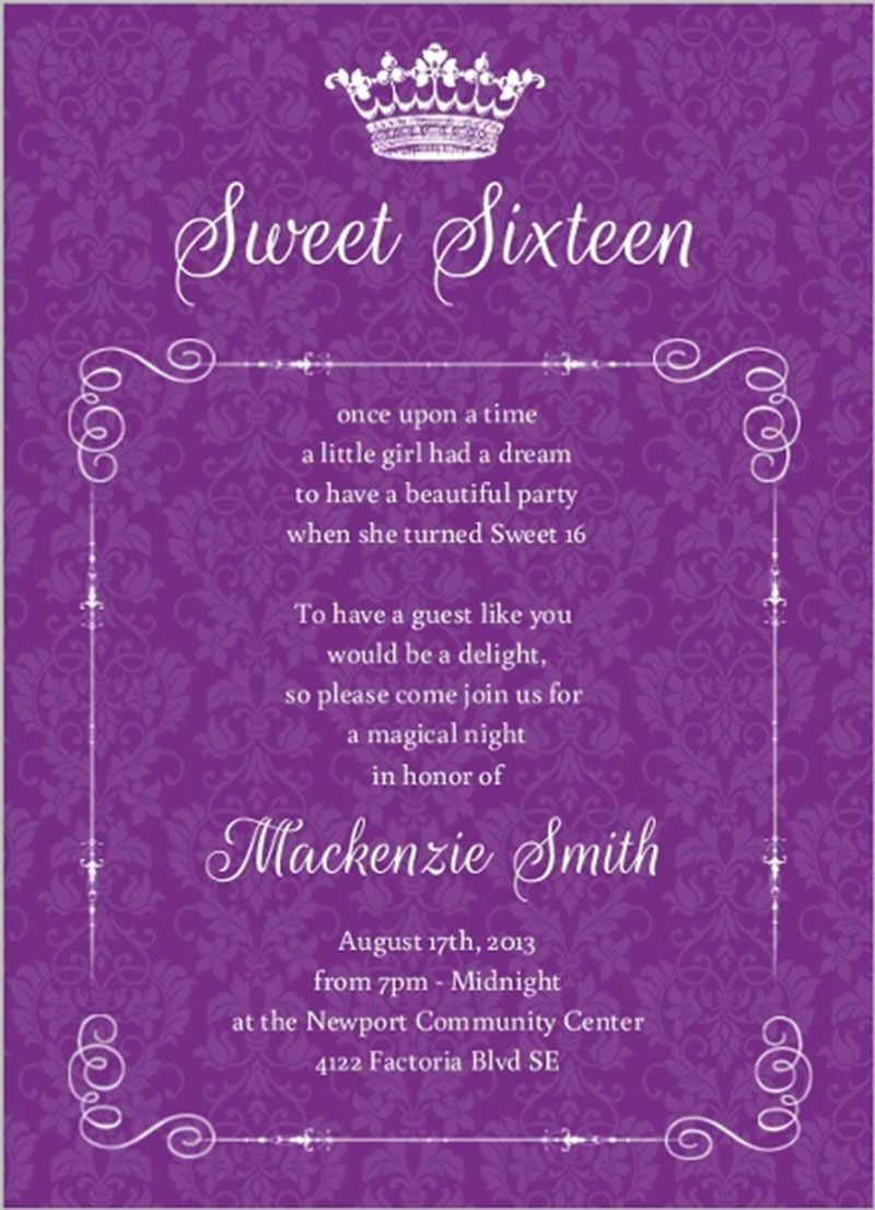 royal purple damask sweet sixteen birthday invitation design sweet