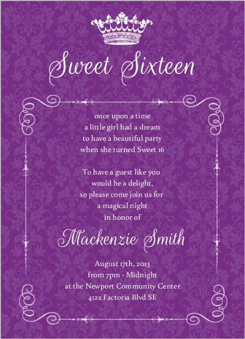Royal Purple Damask Sweet Sixteen Birthday Invitation Design 16th